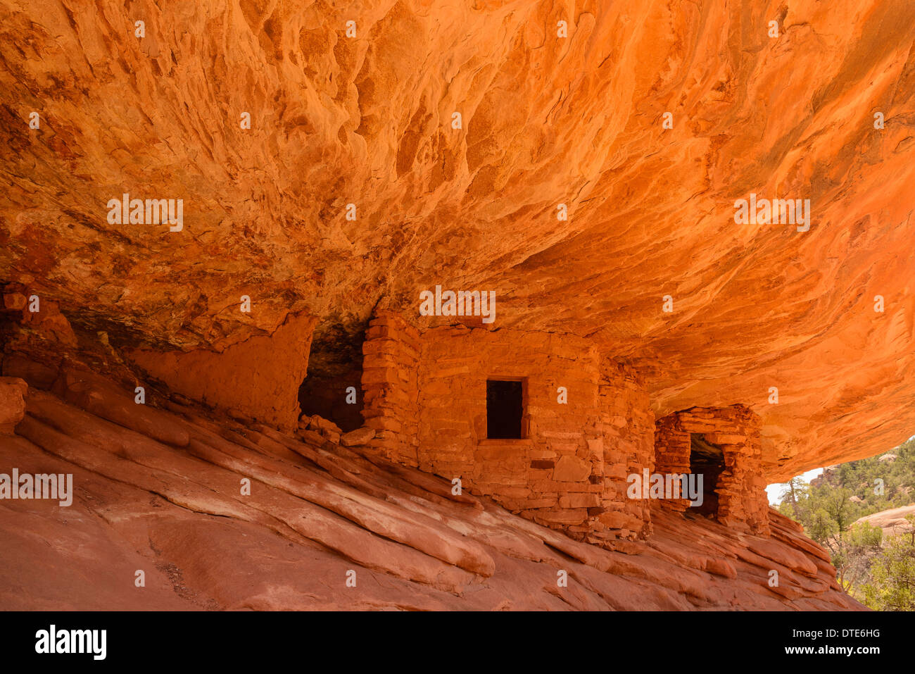 Ancient Indian Granary, known as 'House on Fire', Mule Canyon, Cedar Mesa, Utah, USA - Stock Image