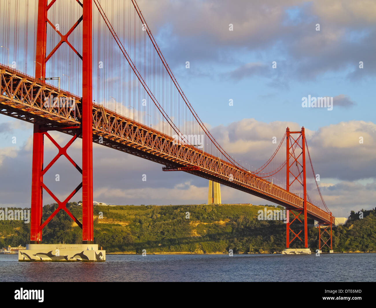 25 de Abril Bridge over the Tagus River in Lisbon, Portugal Stock Photo