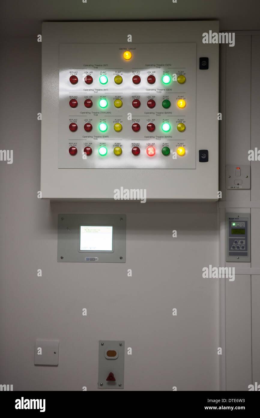 Operating theatre air flow pressure monitoring panel - Stock Image