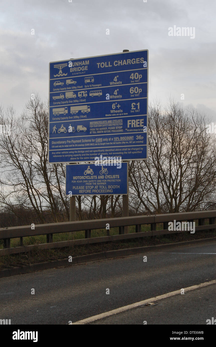 toll charges sign on Dunham Toll Bridge, Nottinghamshire, England, UK Stock Photo