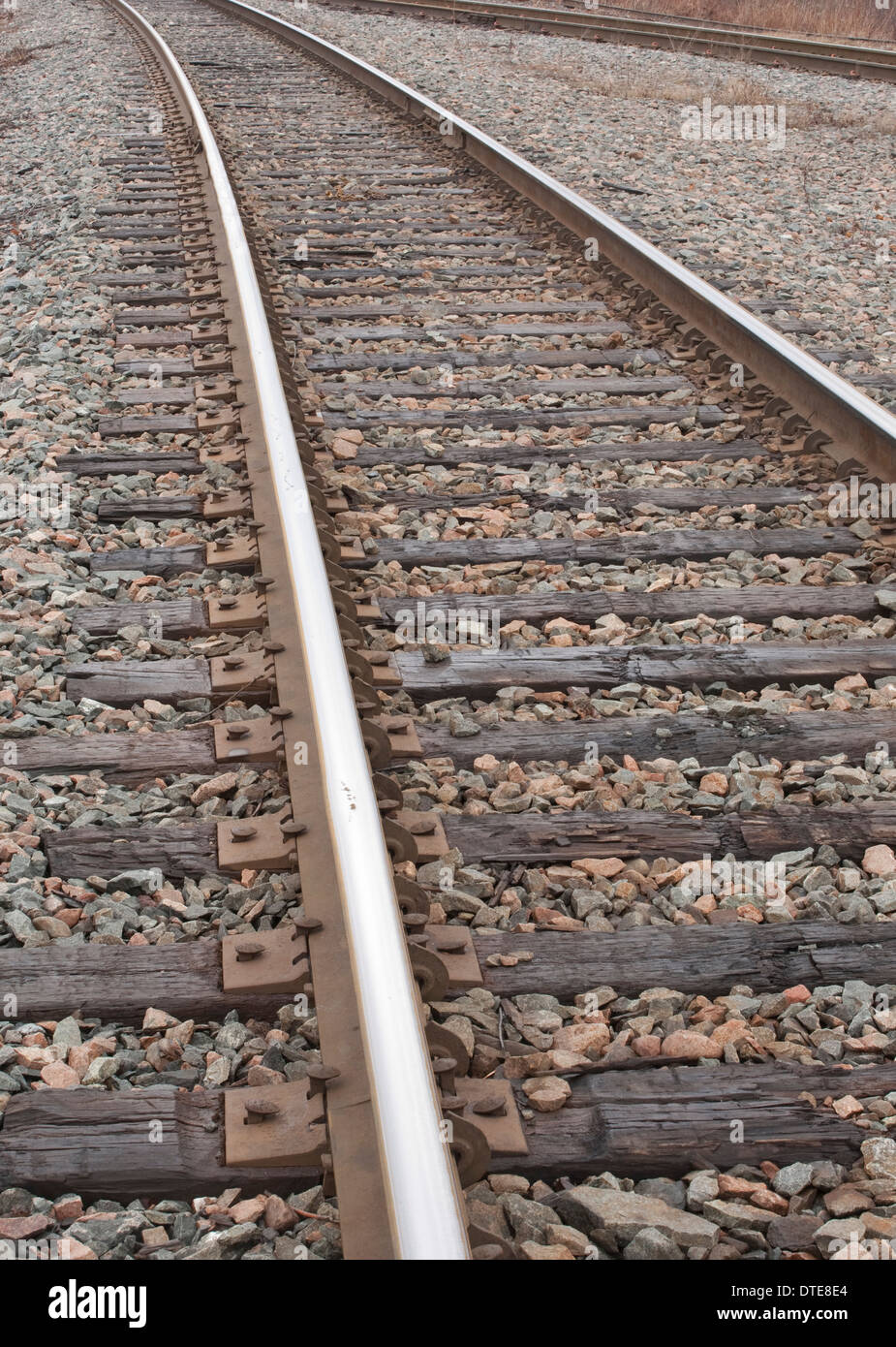 Detail view of railroad tracks - Stock Image