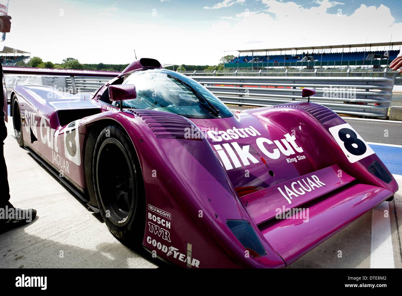 a purple jaguar le mans race car in silk cut livery stock. Black Bedroom Furniture Sets. Home Design Ideas