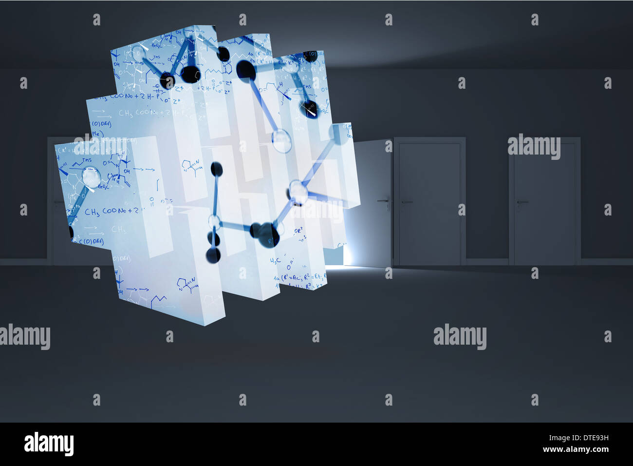 Composite image of microscopic cells on abstract screen - Stock Image