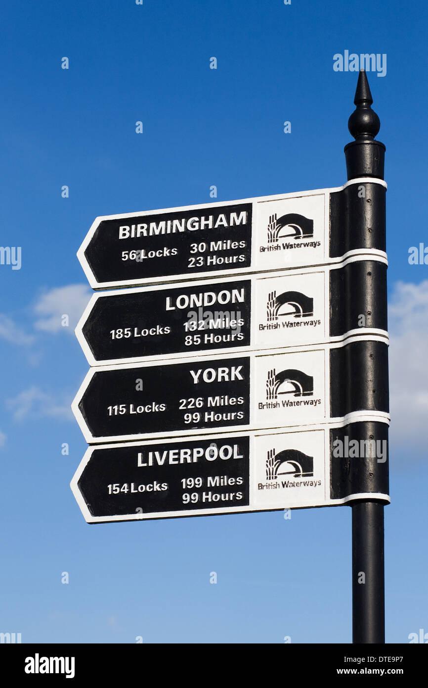 British Waterways sign at the canal in Stratford upon Avon, Warwickshire. - Stock Image