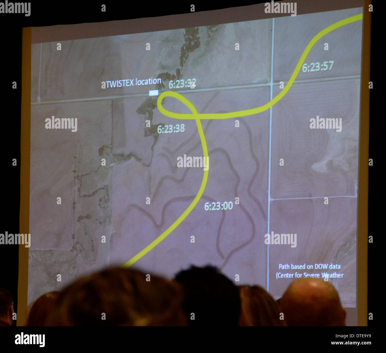 Feb 15, 2014. Denver CO. NWS of Denver(National Weather Service) does a full and correct presentation on what happen at the start to impact of a sub-vortex( two in one) tornado that was going 100 mph that killed three storm chasers Tim Samaras and son Paul Samaras and Carl Young during the 2014. Chaser Con(storm chasers convention) Saturday. A path is shown of the sub-vortex tornado coming at them at 100 mph before impact in El Reno OK tornado in May 2013. Photo by Gene Blevins/LA DailyNews/ZumaPress (Credit Image: © Gene Blevins/ZUMAPRESS.com) - Stock Image