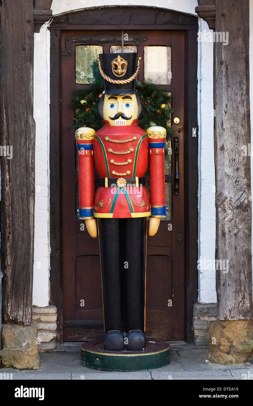 large toy soldier outside the christmas shop stratford upon avon stock image
