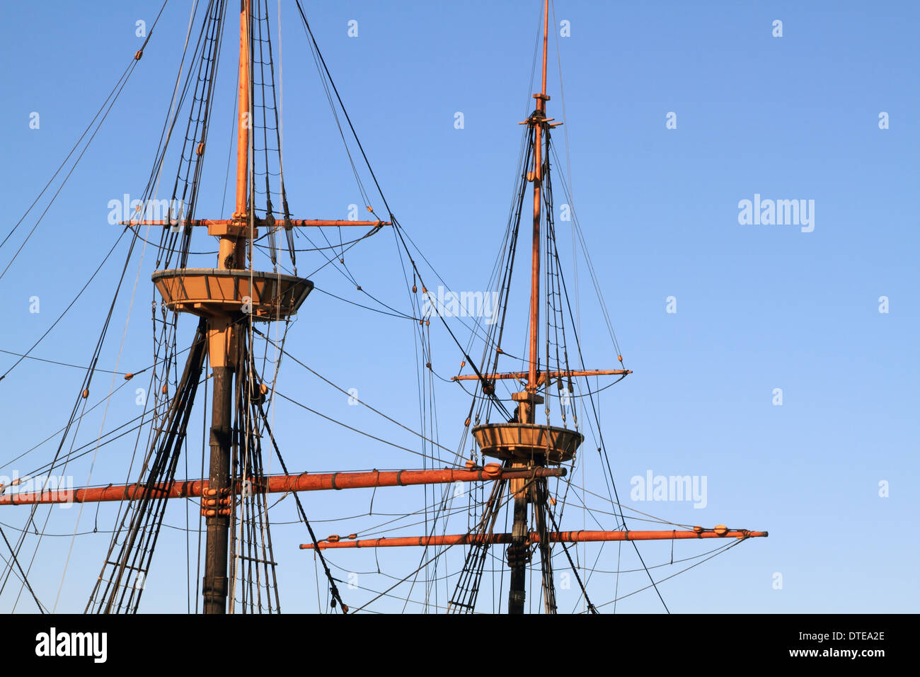 A replica of the Mayflower in the harbor at Plymouth, Massachusetts, USA. Image isolating the masts and crowsnest - Stock Image
