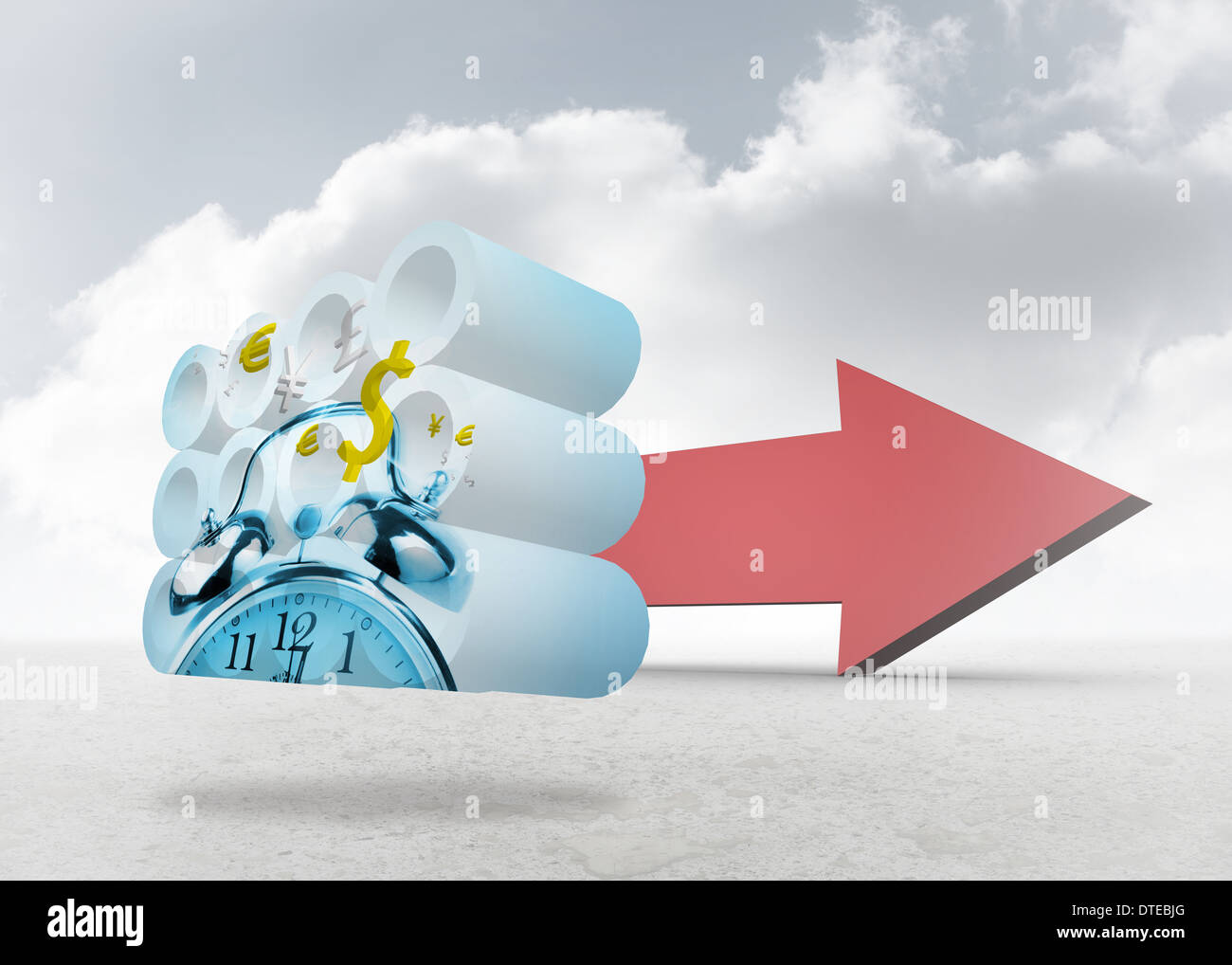 Composite image of time is money concept on abstract screen - Stock Image