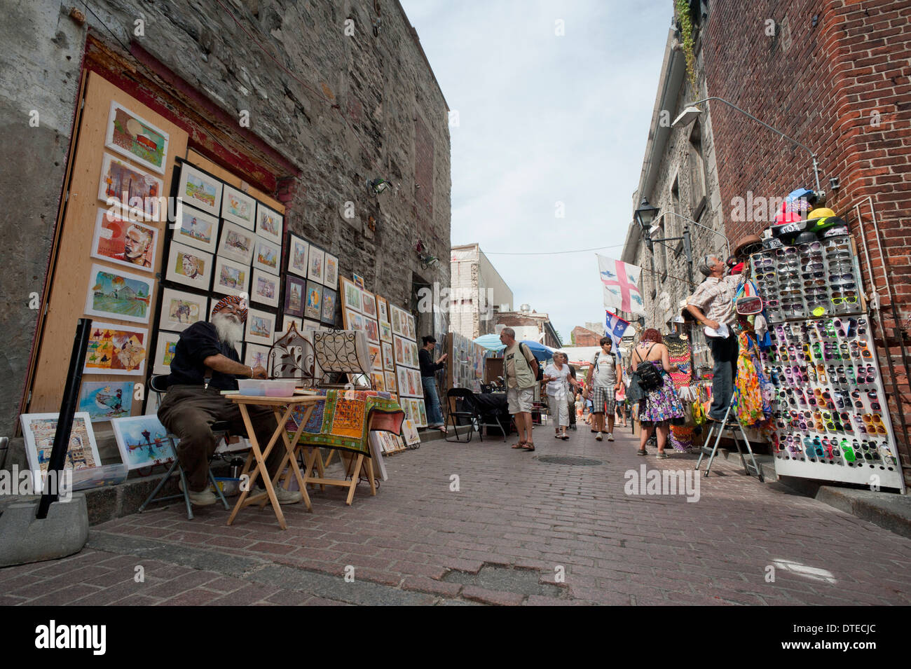 Street vendors on St-Amable street, Old Montreal, province of Quebec, Canada. - Stock Image