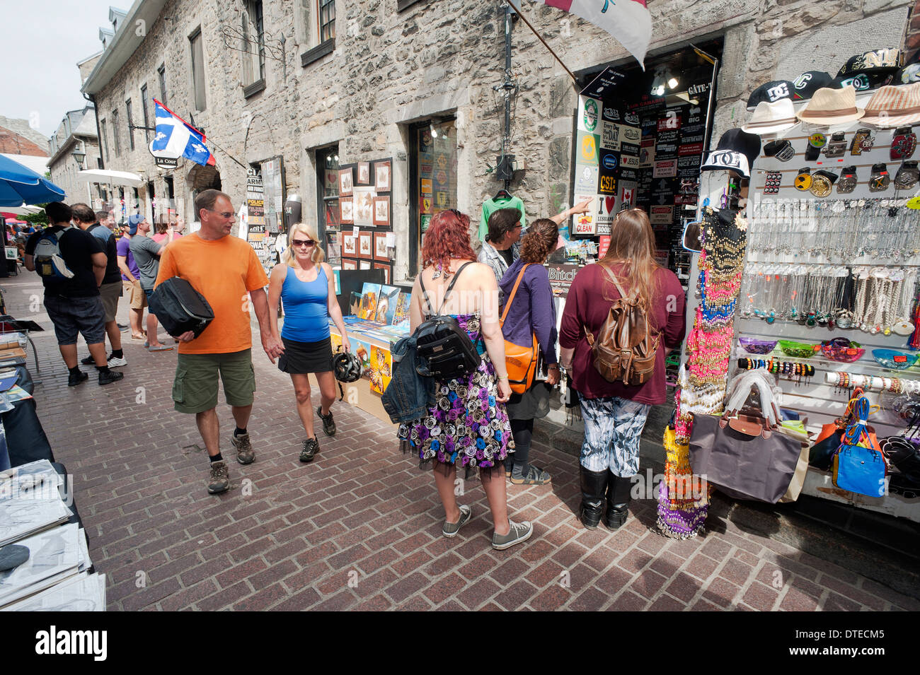 Visitors walking on St-Amable street, Old Montreal, province of Quebec, Canada. - Stock Image
