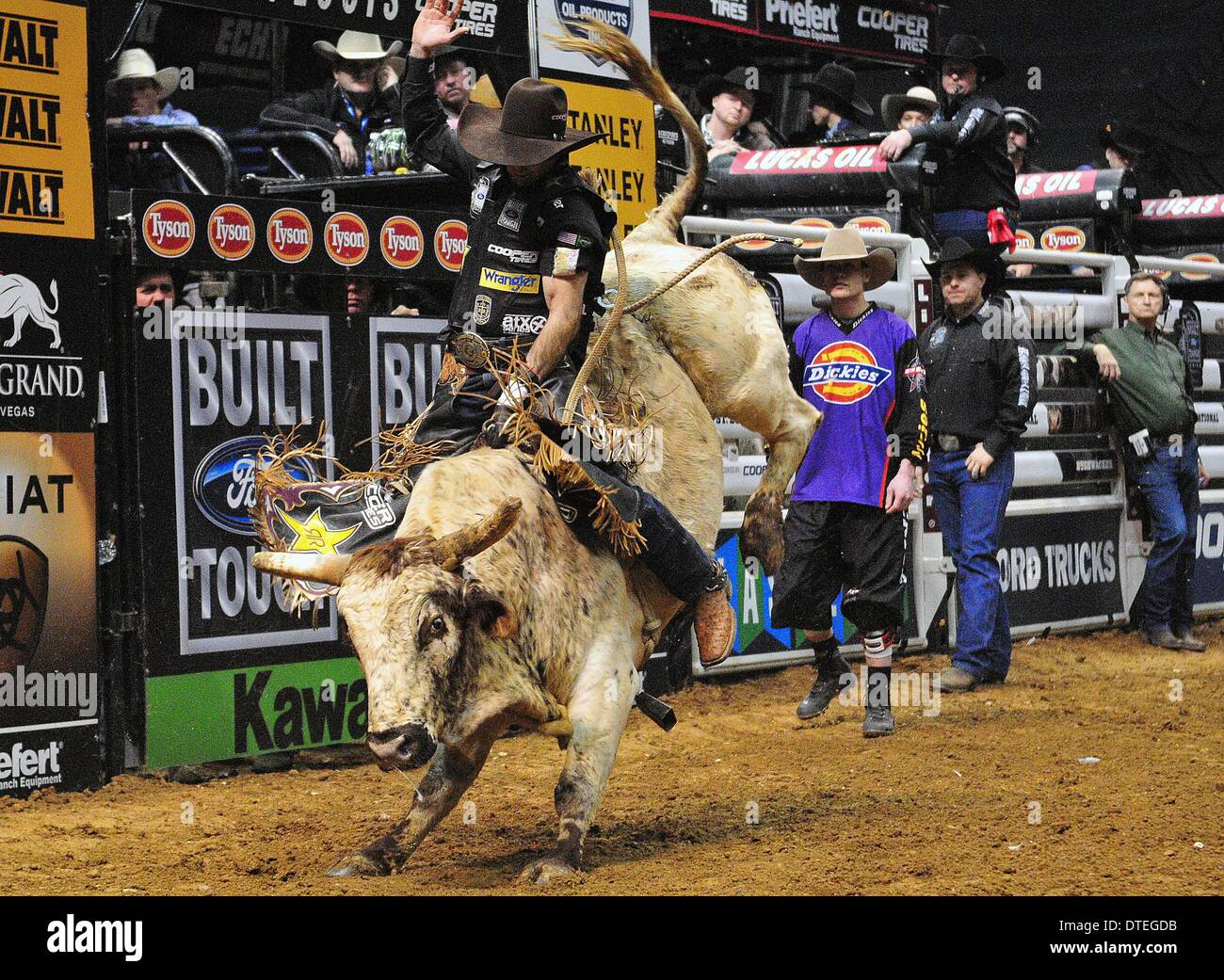 St. Louis, Missouri, USA. 16th Feb, 2014. February 16, 2014: Rider Fabiano Vieira on bull Soldier Boy during the Stock Photo
