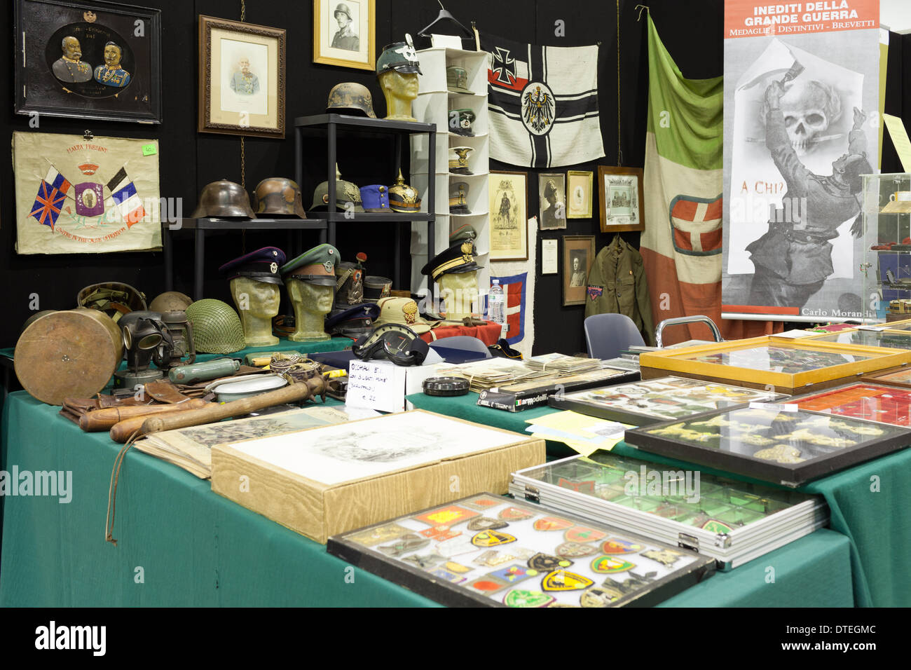 ROME, ITALY - FEBRUARY 16, 2014: At Fiera di Roma, various military collectible items are displayed and available for sale on the occasion of Rome Military And Soft-Air Exhibition. Credit:  Corina Daniela Obertas/Alamy Live News - Stock Image