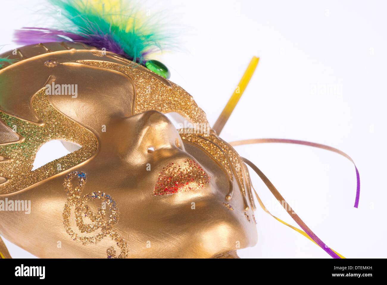 Golden Mardi Gras mask - Stock Image