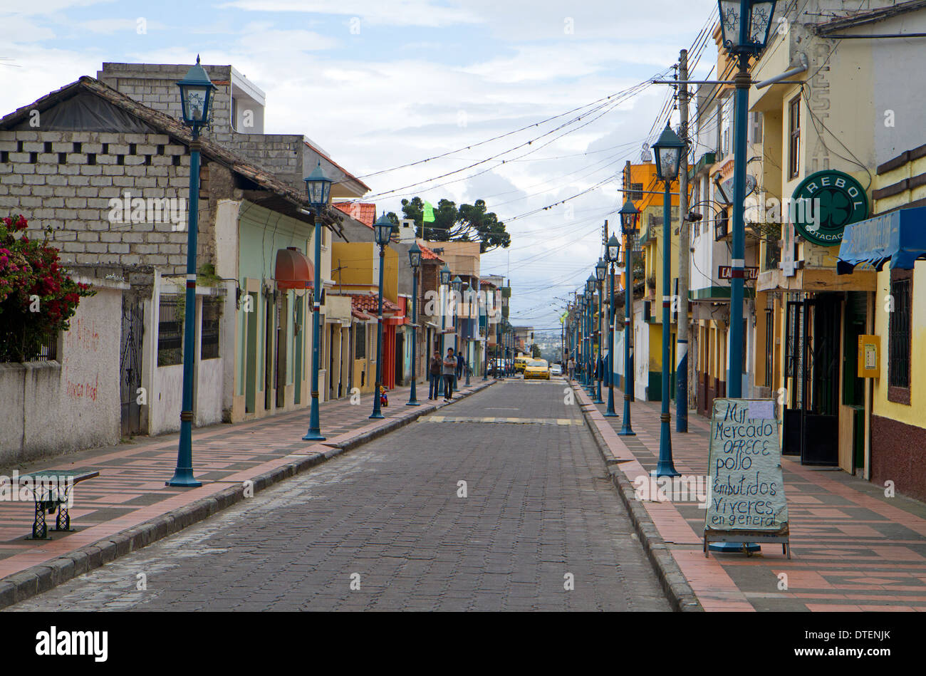 Cobblestoned street in the leather-making town of Cotacachi Stock Photo