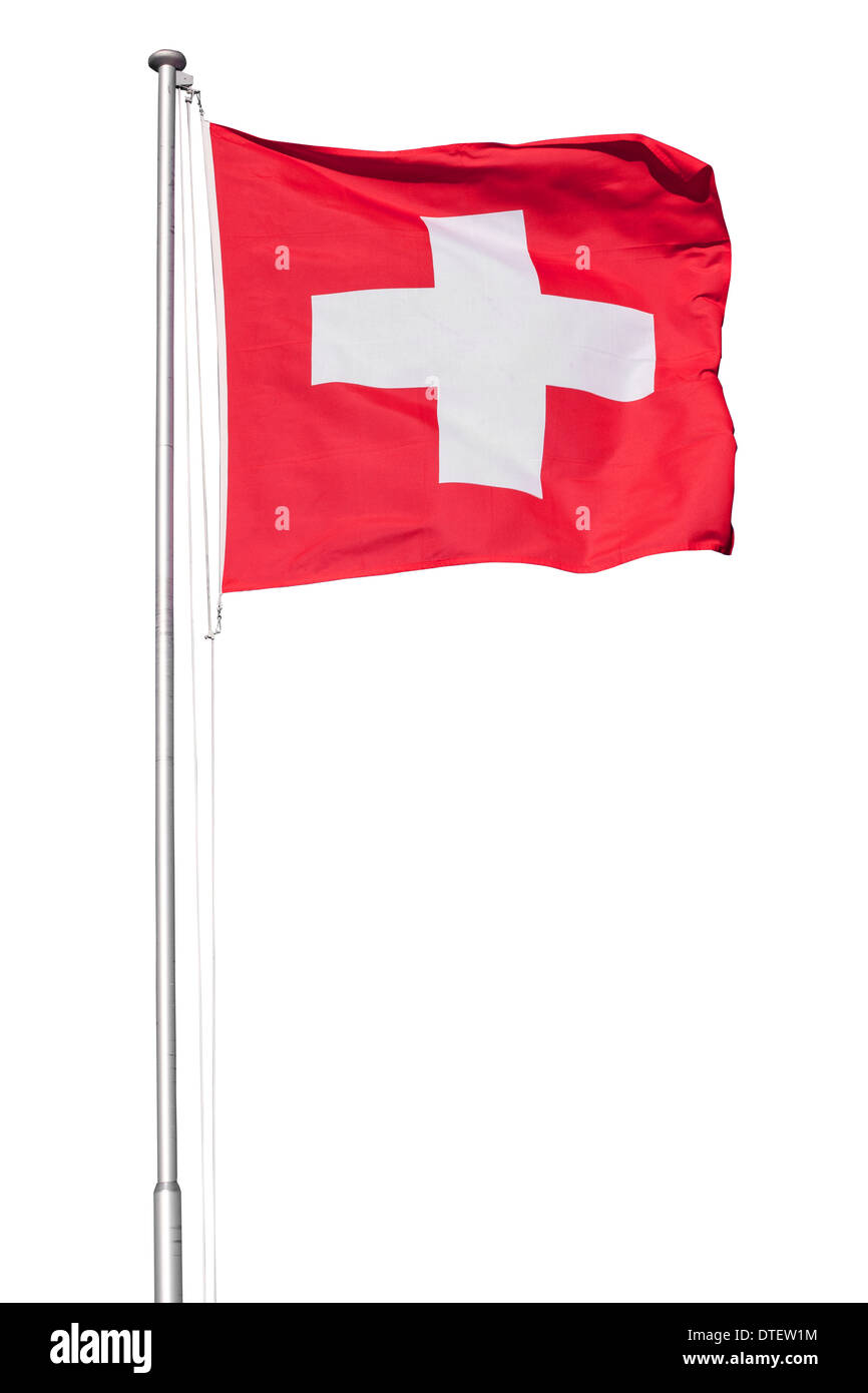 Swiss flag flying on a metal pole, isolated on a white background - Stock Image