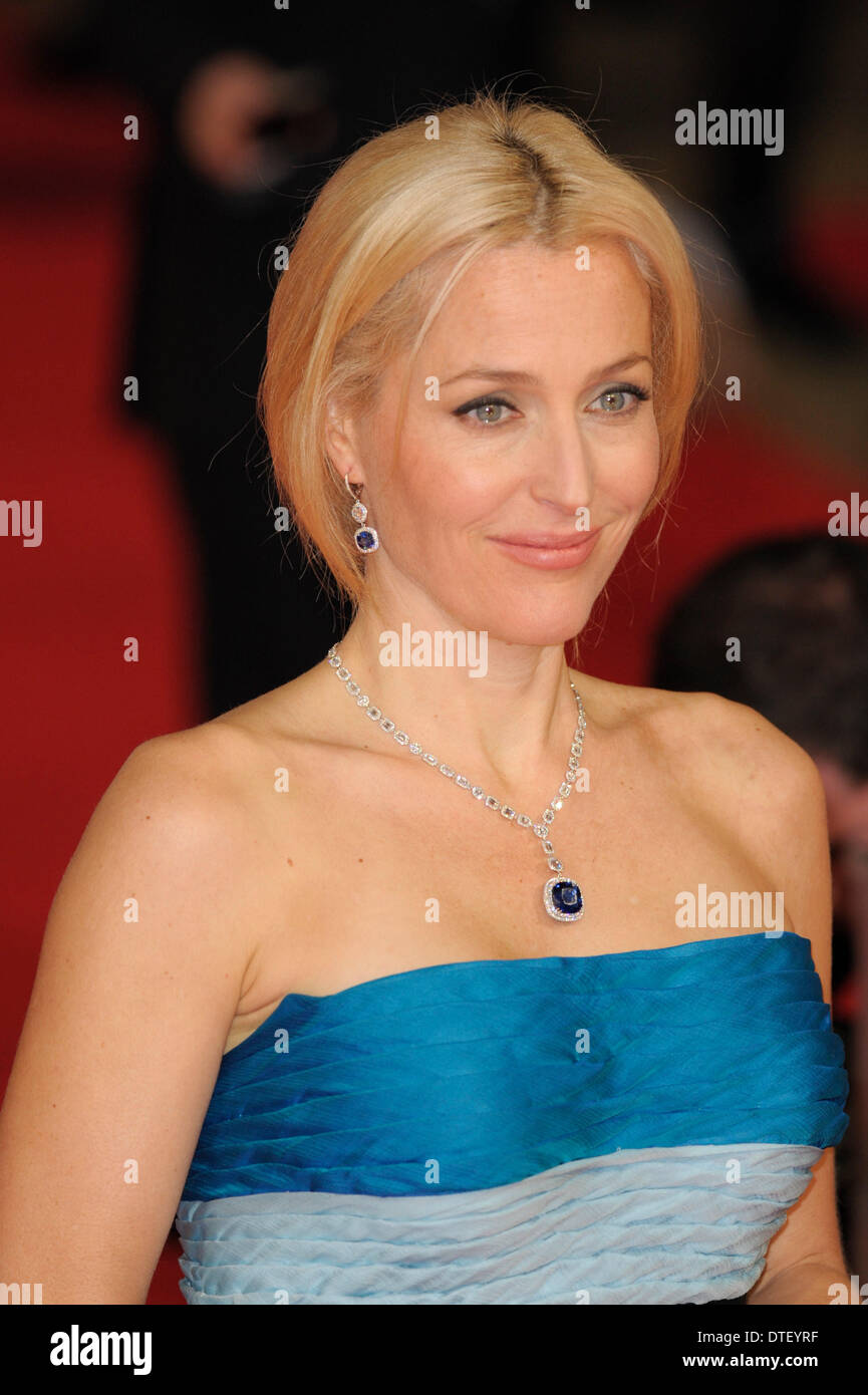 London, UK, 16/02/2014 : Red Carpet Arrivals at the EE British Academy Film Awards. Persons Pictured: Gillian Anderson. Picture by Julie Edwards - Stock Image