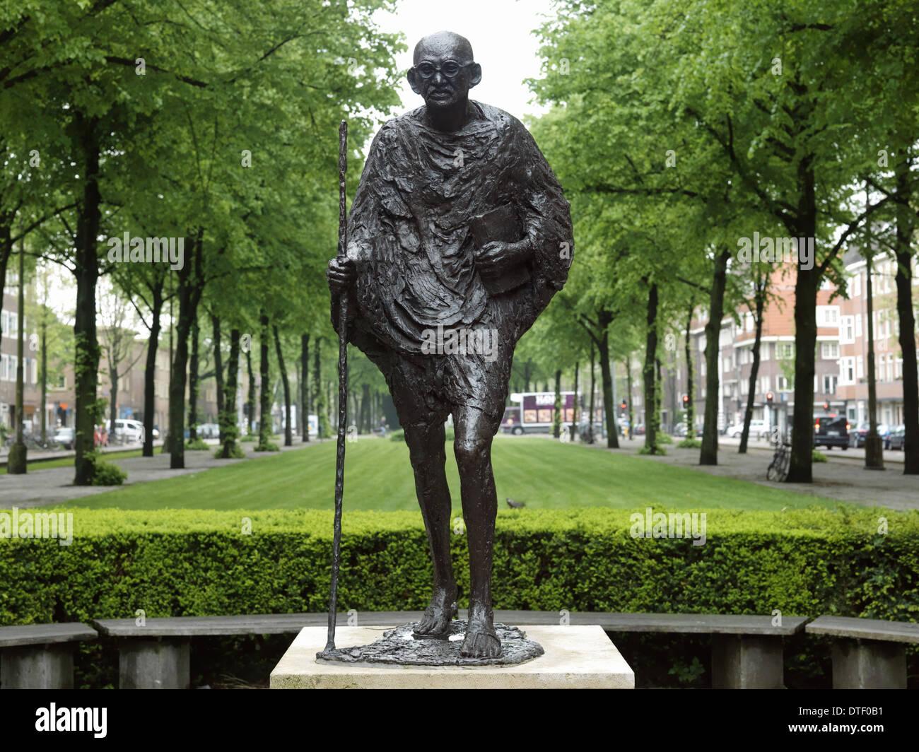 Amsterdam, The Netherlands, bronze statue of Mahatma Gandhi to the Churchill - Laan - Stock Image