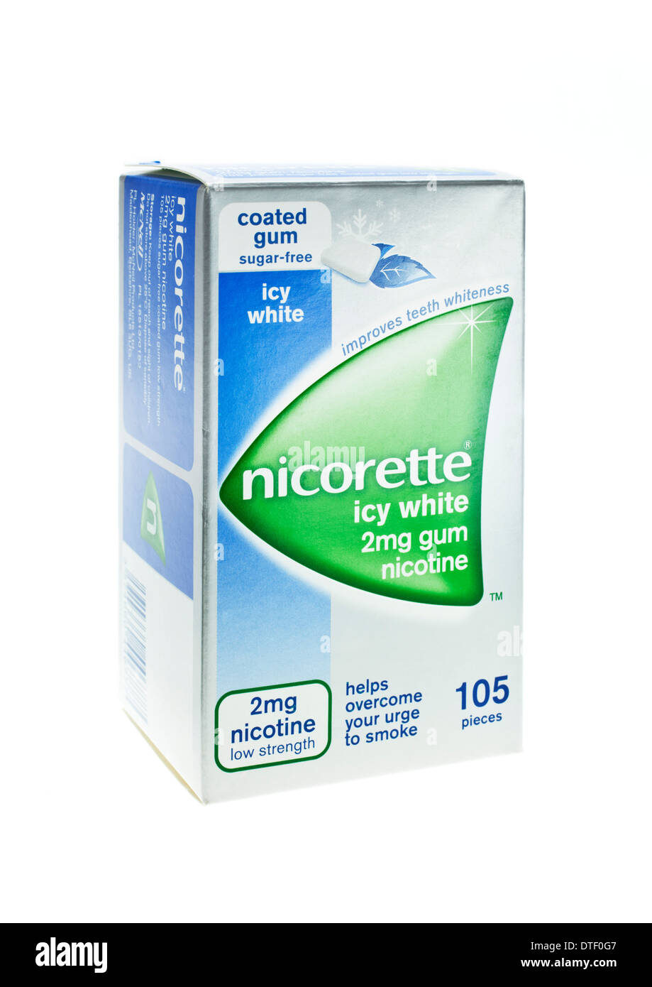 Nicorette chewing gum box nicotine replacement treatment on white background - Stock Image