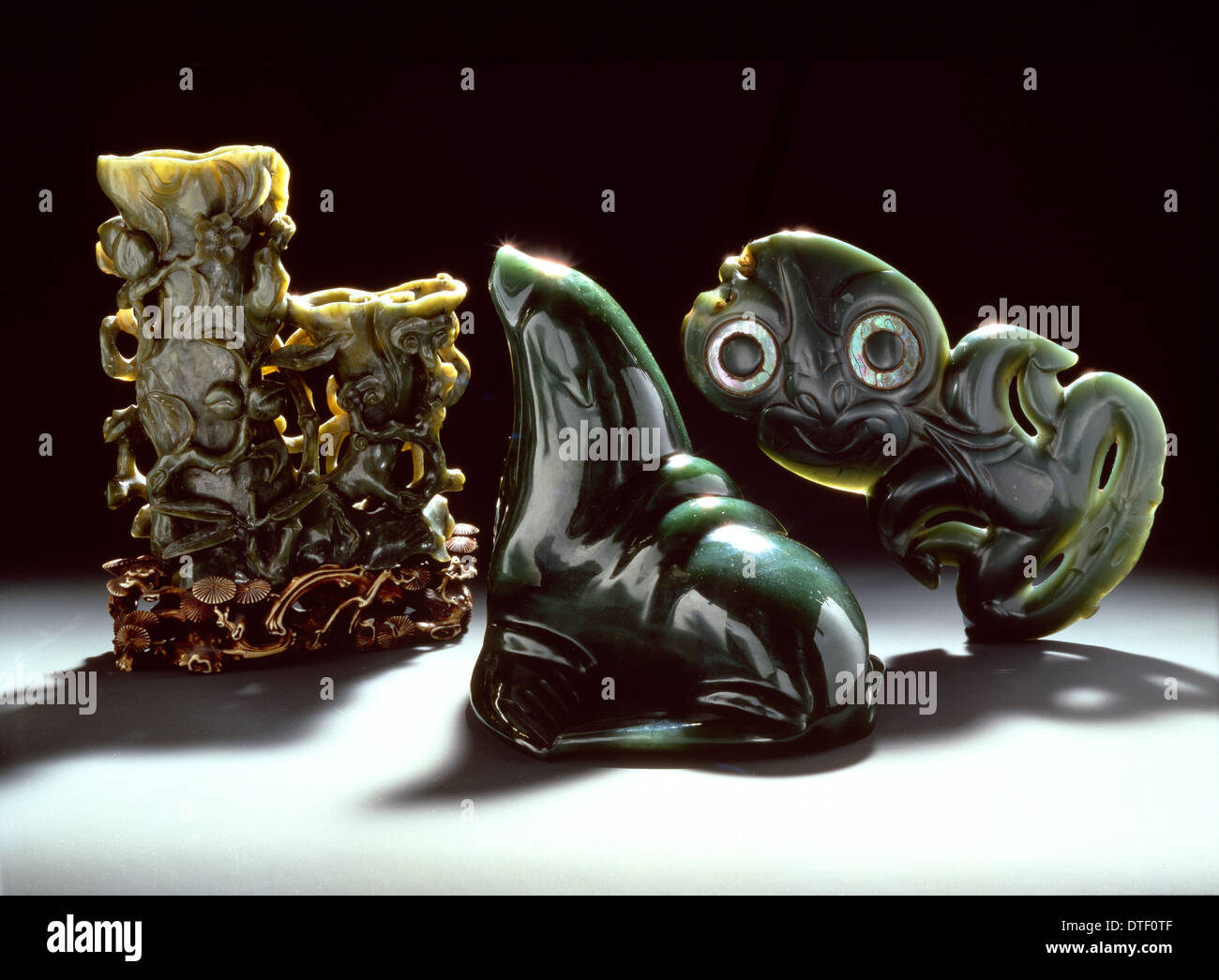 Objects carved from nephrite jade - Stock Image