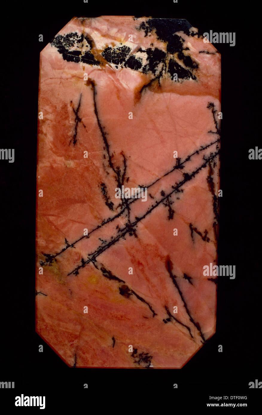 Polished slab of rhodonite Stock Photo