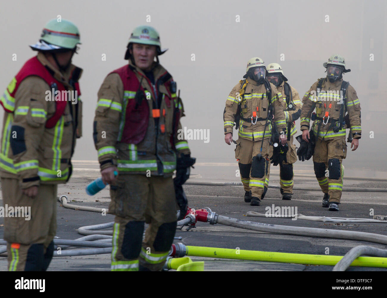 Berlin, Germany, Feuerwehrmaenner with respiratory protective equipment - Stock Image