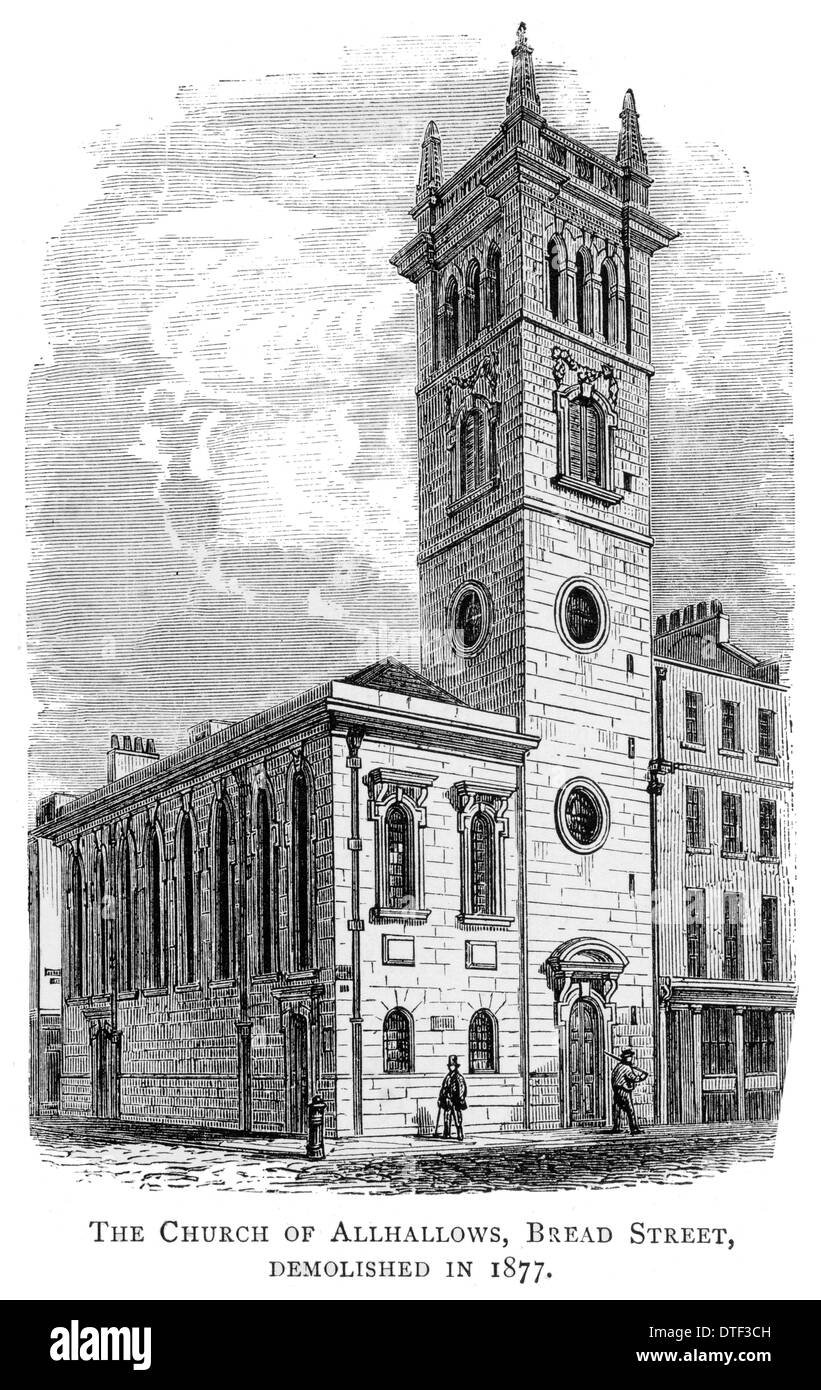 The church of Allhallows, Bread Street, Demolished in 1877 - Stock Image
