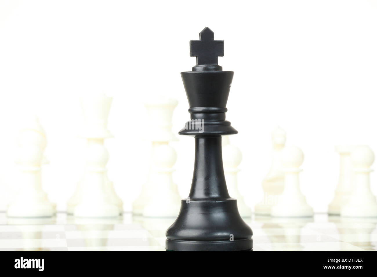 Closeup view of a black chess king - Stock Image