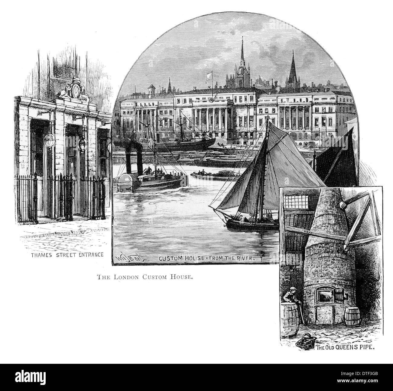The London Custom House from the river Thames Street entrance. The Old Queens Pipe Circa 1890 - Stock Image