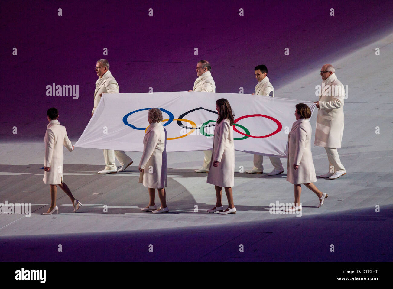 The Olympic Flag enters during the Opening Ceremonies at the Olympic Winter Games, Sochi 2014 - Stock Image