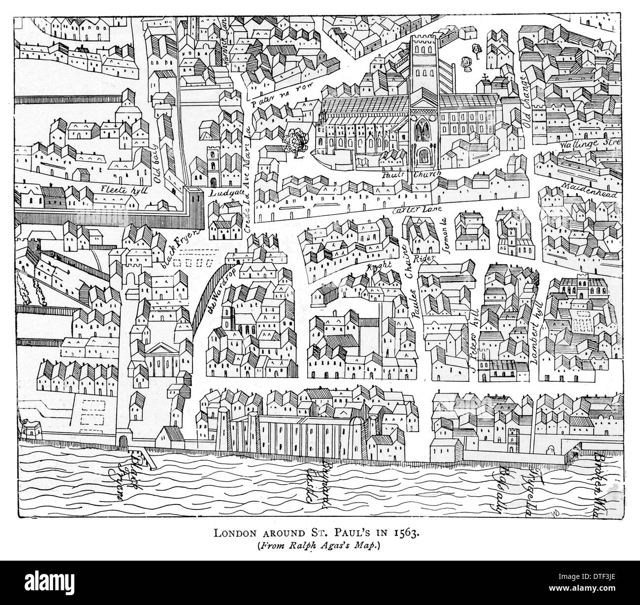 London around Saint Paul's in 1563. From Ralph Agas's map. - Stock Image