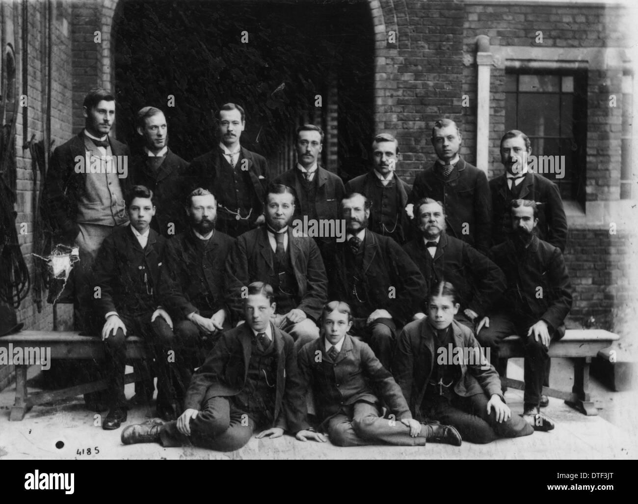 Junior Zoology staff, 1885. - Stock Image