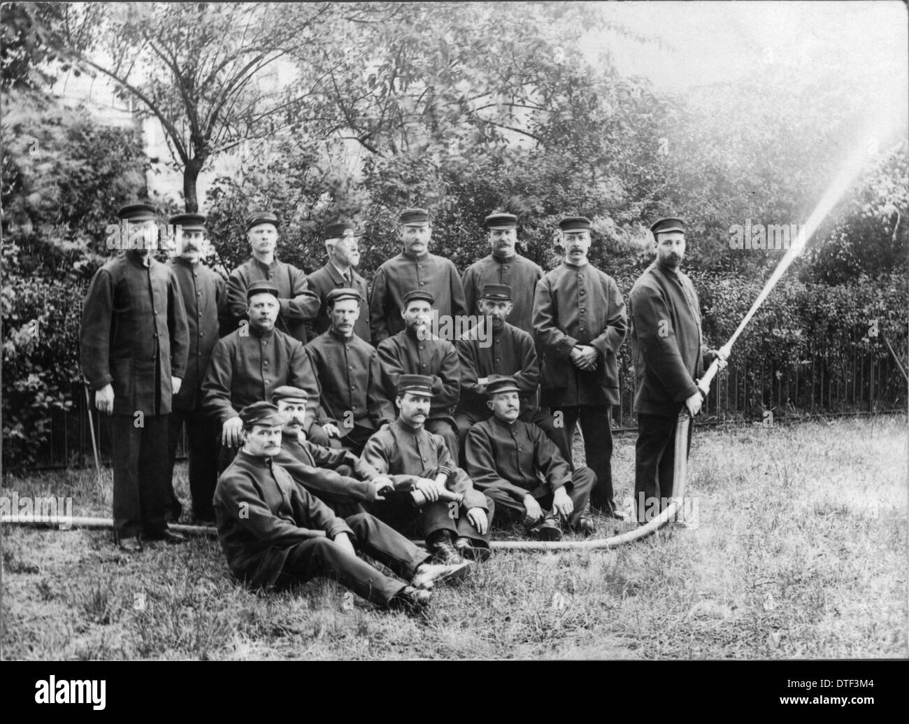 Firemen, c.1910 at the Natural History Museum - Stock Image