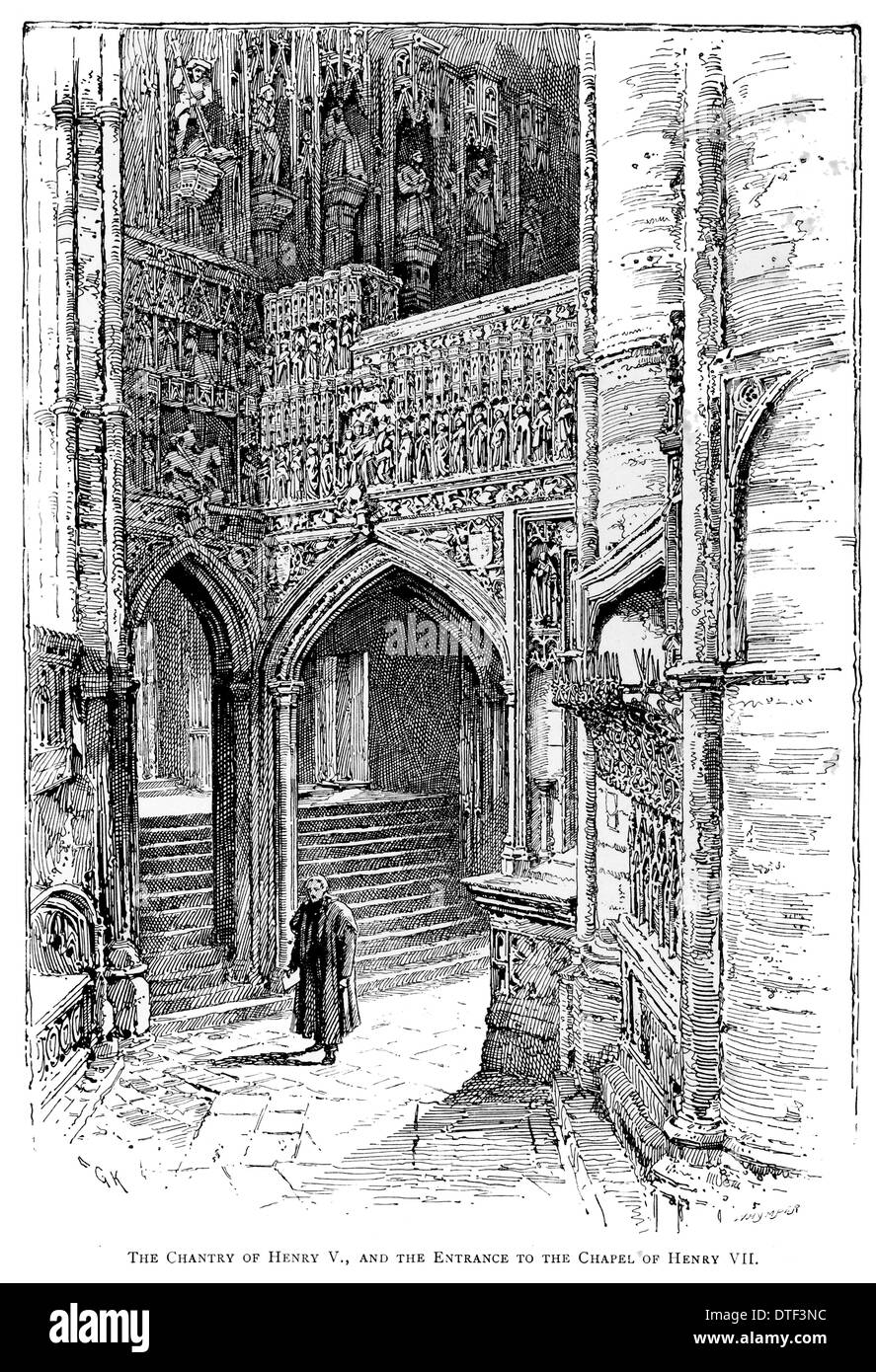 The Chantry of Henry V and the entrance to the chapel of Henry VIII Circa 1890 - Stock Image