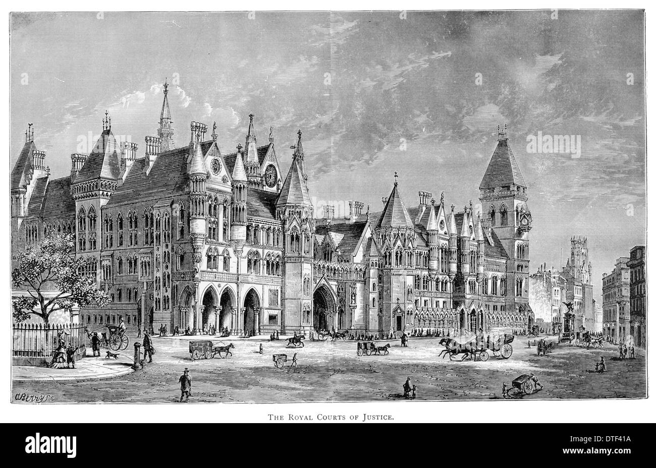 The Royal Courts of Justice Fleet Street  Circa 1890 - Stock Image