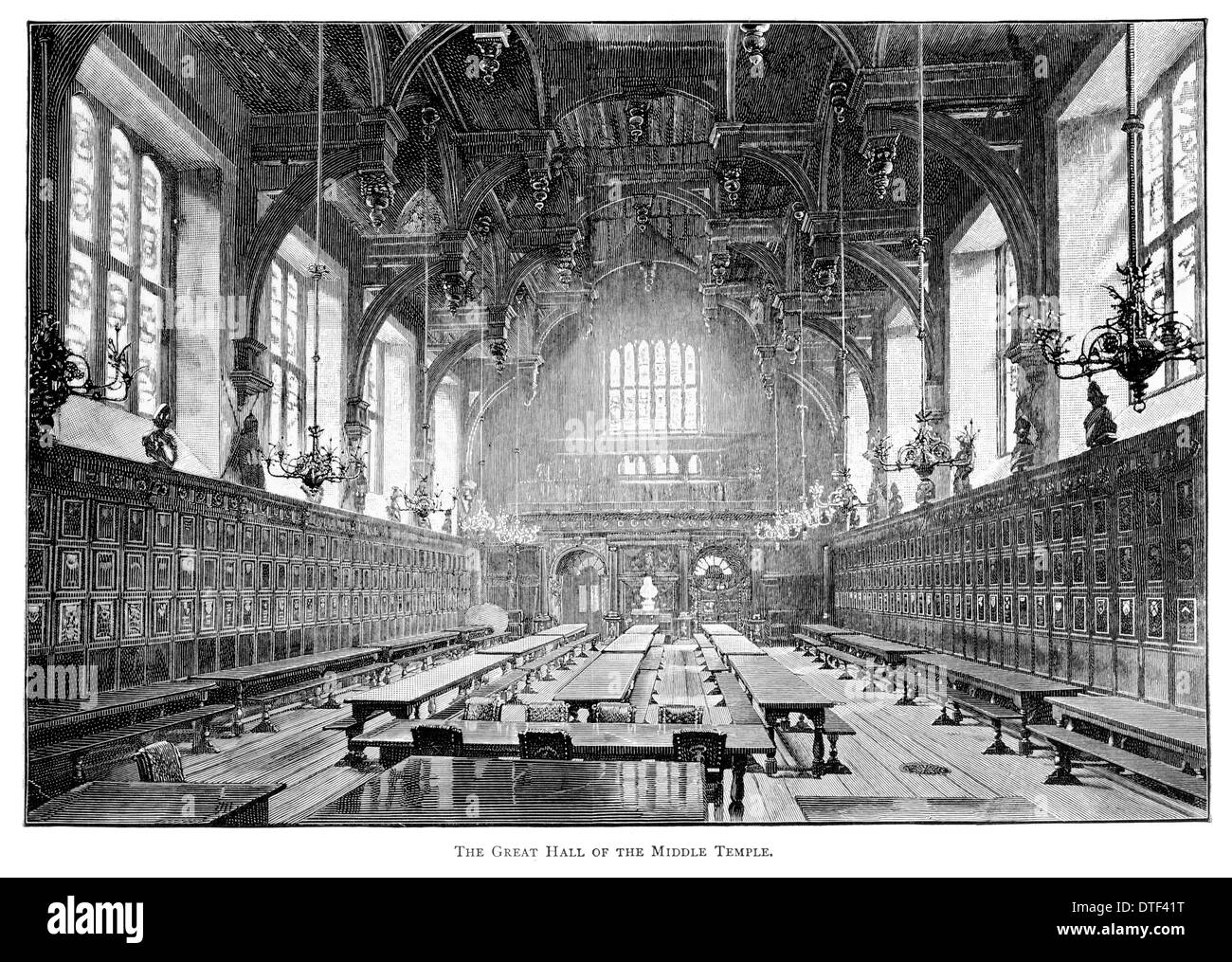 The Great Hall of the Middle Temple One of four Inns of Court Circa 1890 Stock Photo