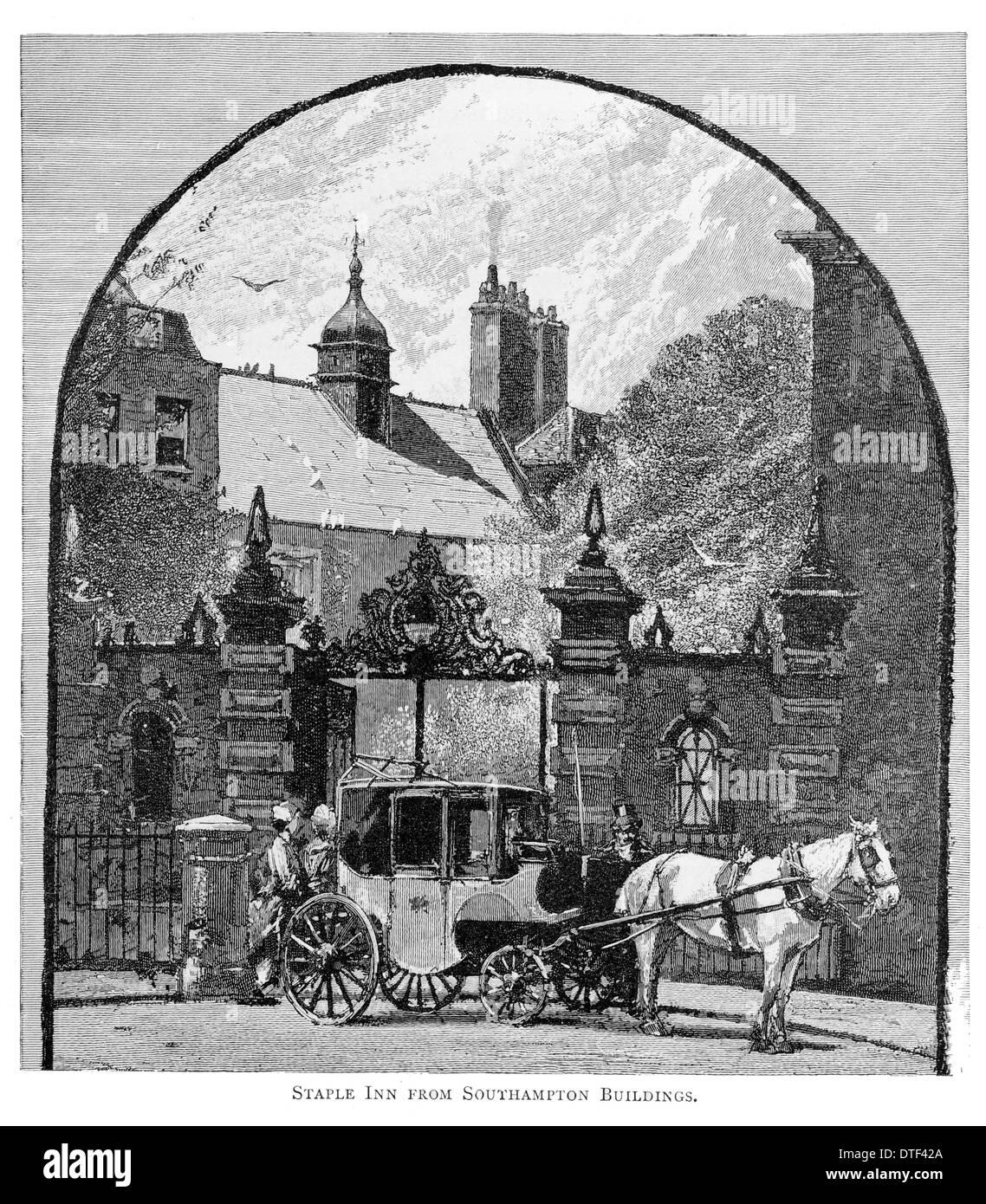 Staple Inn from Southampton Buildings Circa 1890 - Stock Image