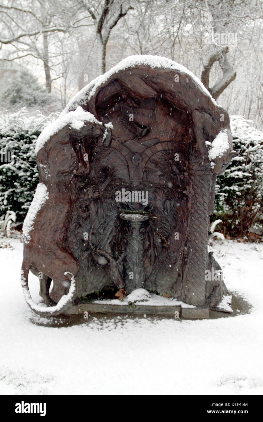 The west lawn ornament in winter. - Stock Image