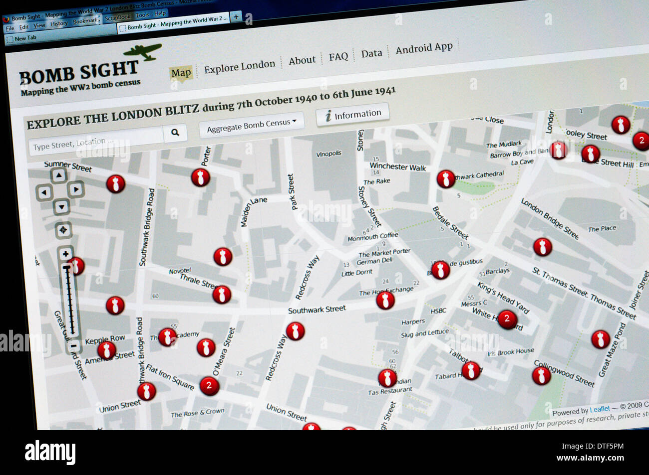 The home page of the Bomb Sight web site - mapping the location of the bombs that fell on London during the Second World War. - Stock Image