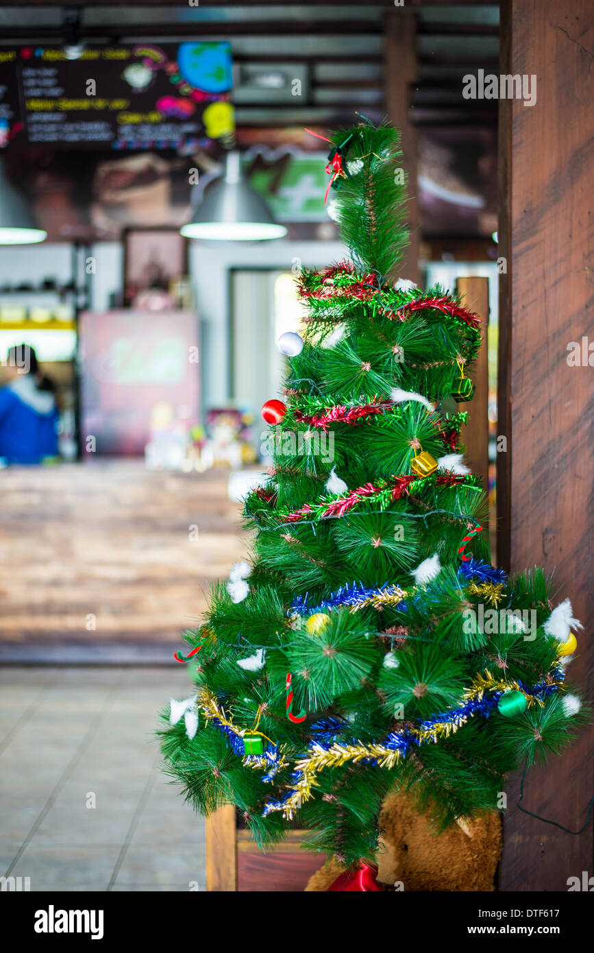 Coffee Christmas Tree.Christmas Tree Decoration In A Coffee Cafe Stock Photo