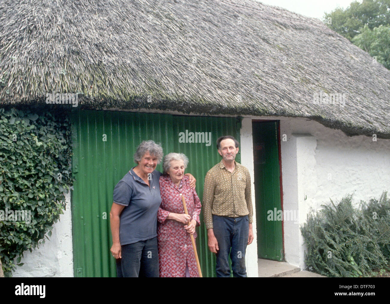 DISTINGUISHED TRAVEL WRITER DERVLA MURPHY WITH HER CLOSE NEIGHBOURS  NEAR TO HER LISMORE HOME IN CO WATERFIRD IRELAND - Stock Image