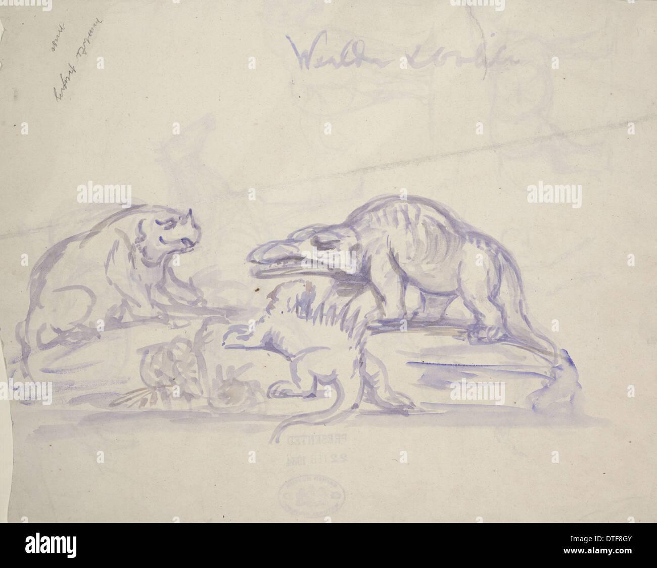 Pre-historic creatures by Benjamin Hawkins - Stock Image