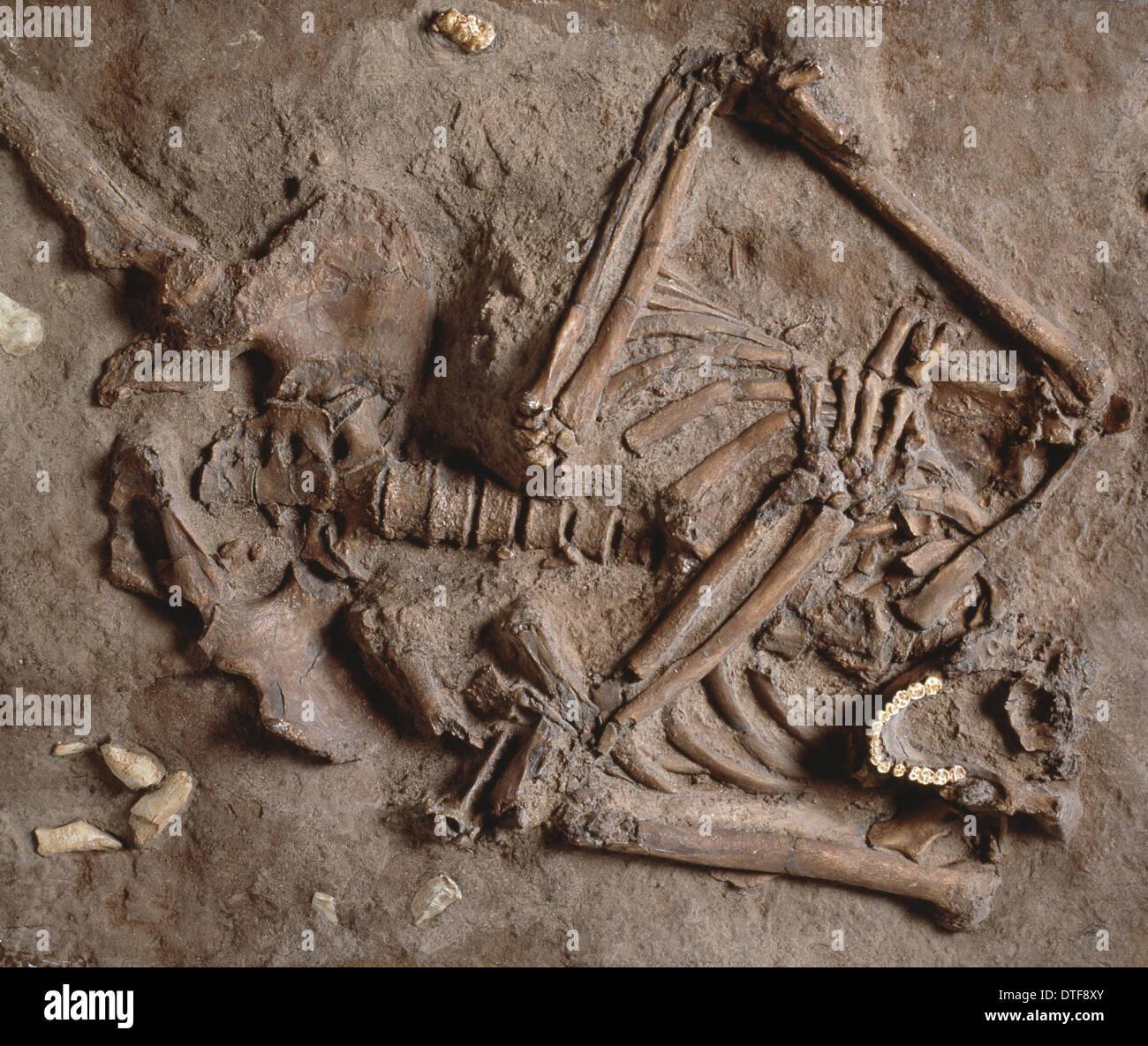 Homo neanderthalensis (Kebarah) burial site - Stock Image