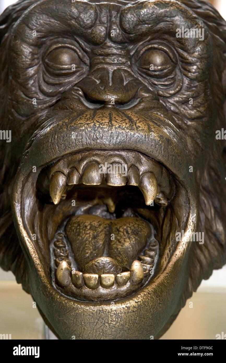 Bronze sculpture of Chimpanzee head - Stock Image