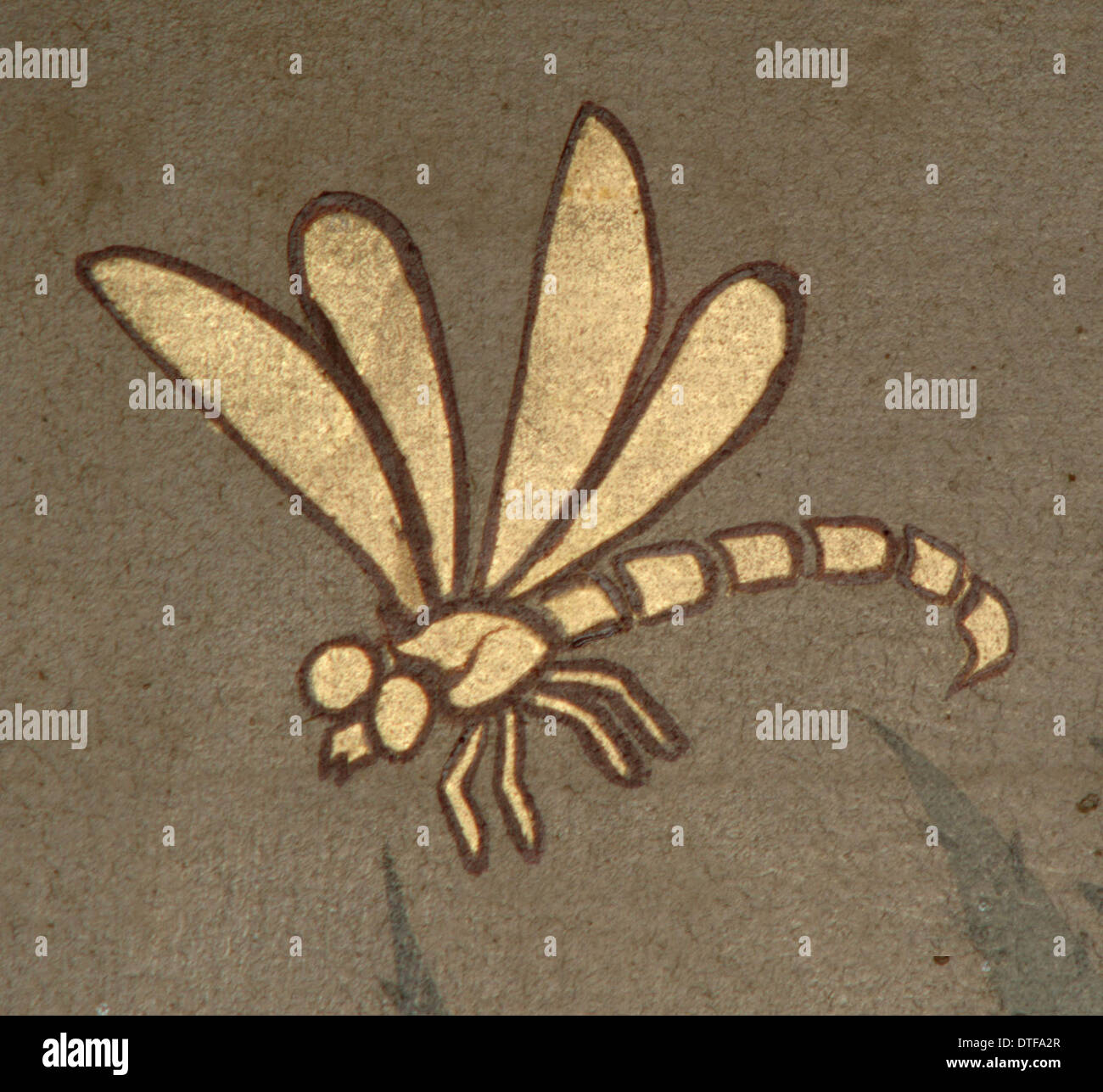 Dragonfly from decorative ceiling panels Stock Photo