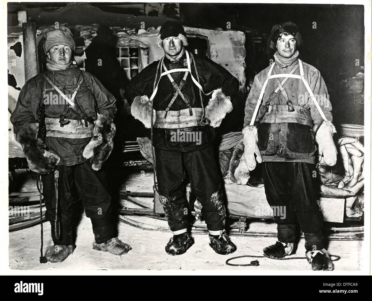 Bowers, Wilson and Cherry Garrard about to set off on the Winter Journey - Stock Image
