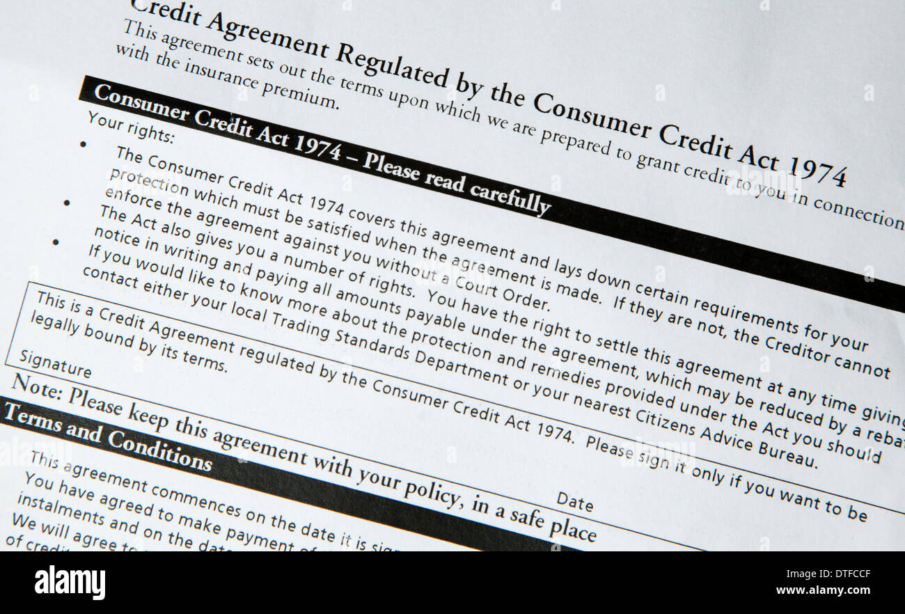 Consumer credit act 1974 notice on the back of a paper energy bill - Stock Image