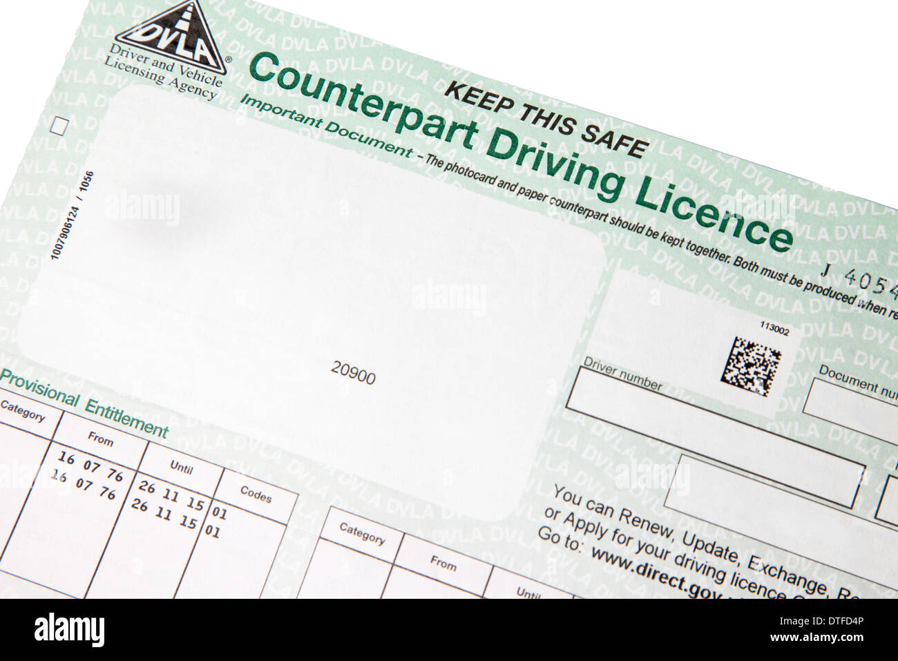 DVLA counterpart driving licence - Stock Image