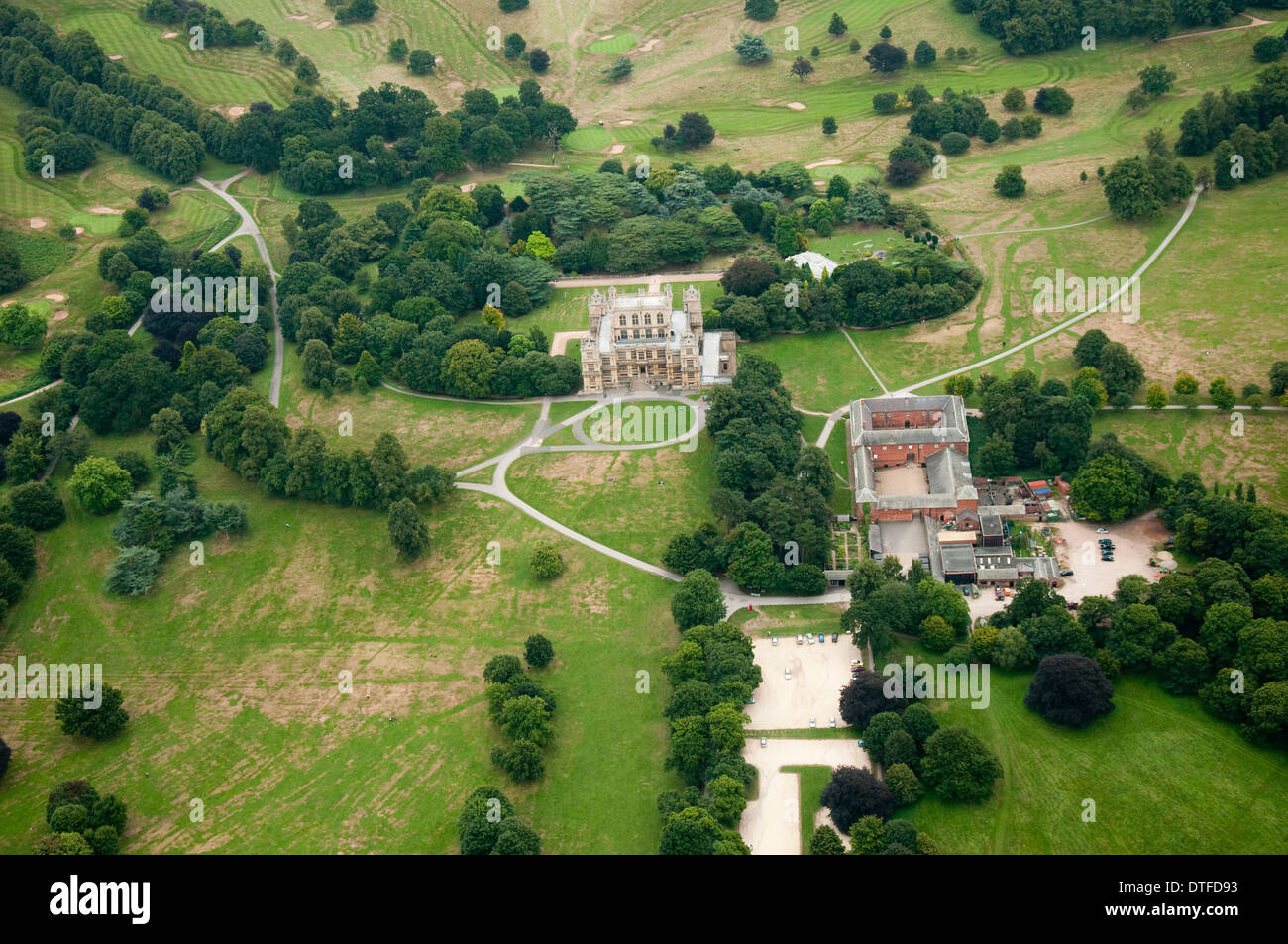 Aerial shot of Wollaton Hall in Nottingham City, Nottinghamshire UK Stock Photo