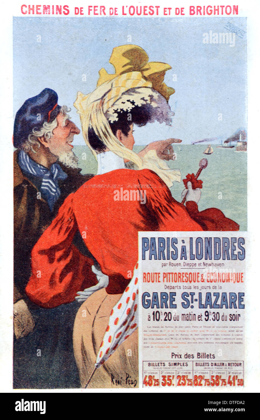 Vintage Advertisement or Publicity for Paris to London Train & Ferry Across the Channel (c1930) - Stock Image