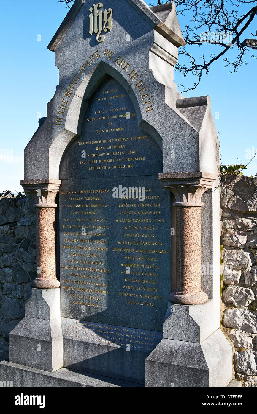 Memorial in Abergele Church yard in North Wales to the victims of the rail disaster on 20th of August 1868 at Llanddulas. Stock Photo